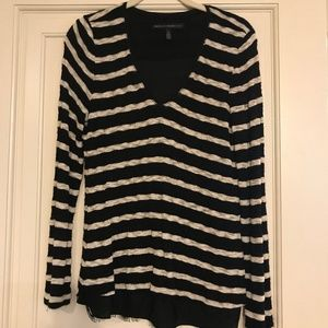 Lined WHBM LS striped lacey sweater/shirt S